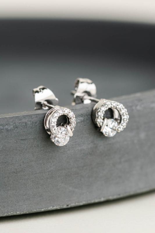 A & ONE Ezüst Színű Aranyozott, Nagy Cirkónia Kővel Díszített Különleges Formájú Fülbevaló